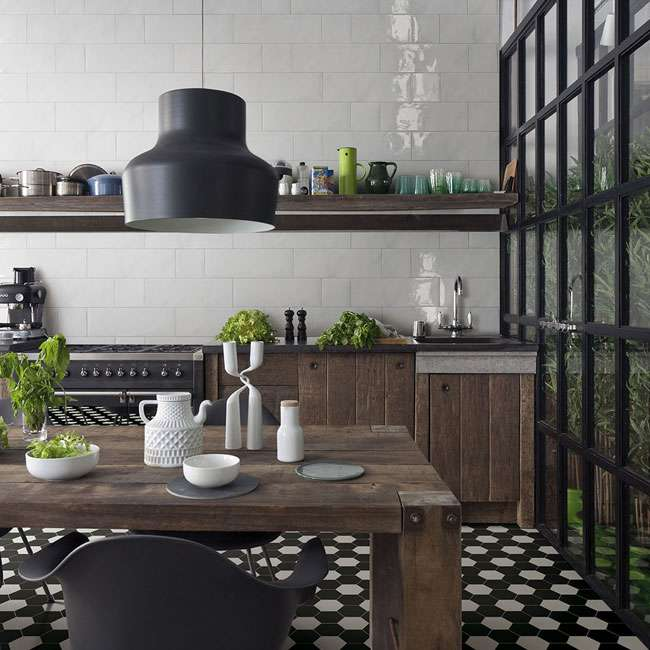 black and white clay hexagon tiles for floor