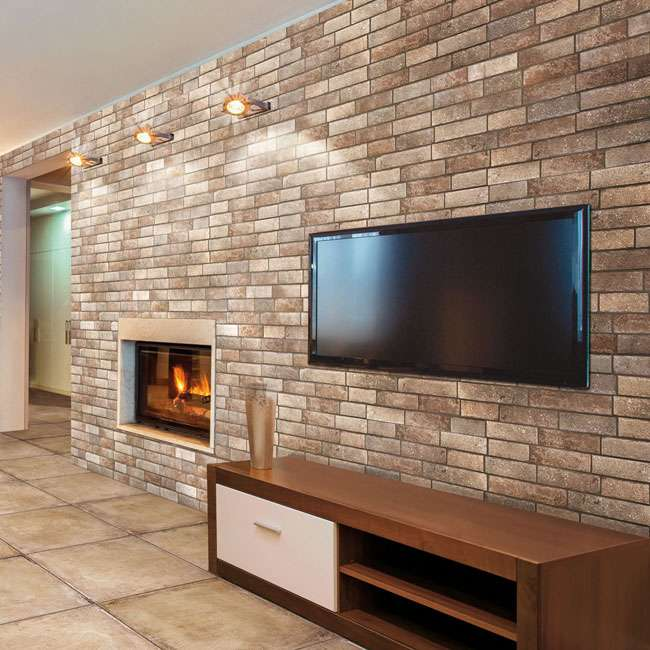Brick Slip Effect Tiles In Living Room