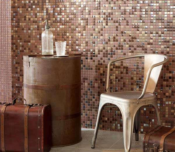 warm mosaic tiles living area
