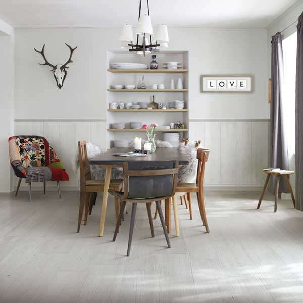 vintage wood tiles dining room