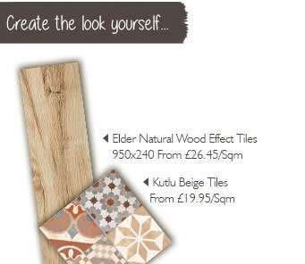 wood effect tiles and Moroccan Encaustic Tiles