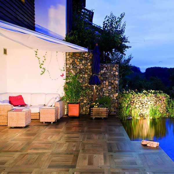 wood tile patio garden