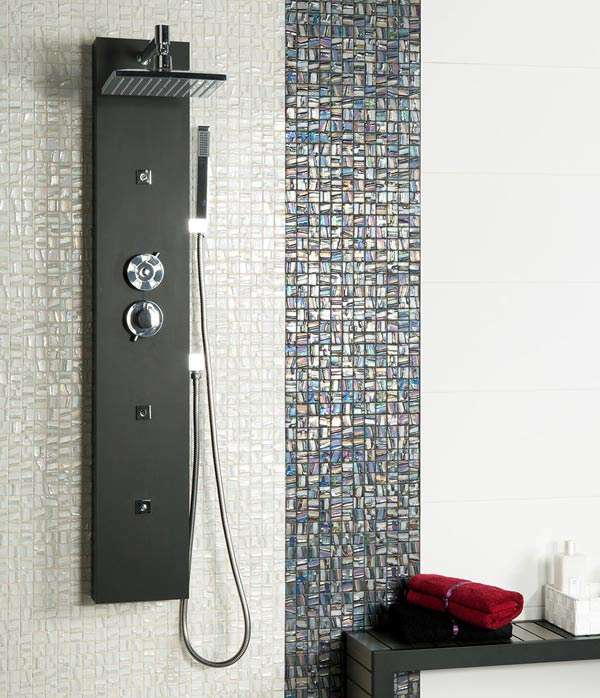 Mosaic tiles in shower