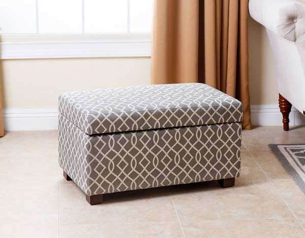 patterned ottoman in living room