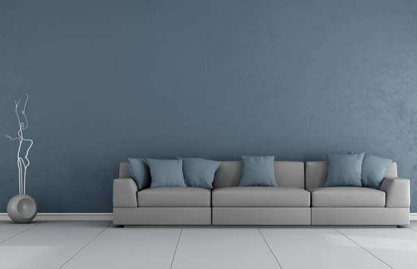 Grey blue living room wall