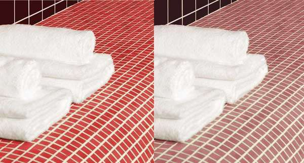 red mosaic tiles