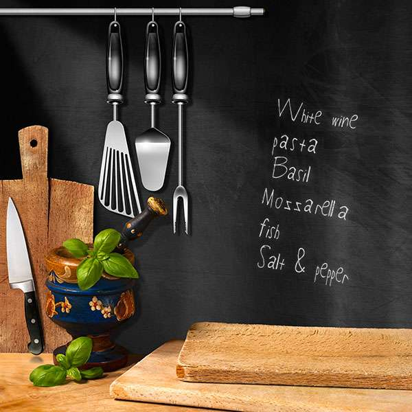Chalk board in kitchen