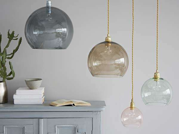 Coloured glass pendant lights from Rigby and Mac