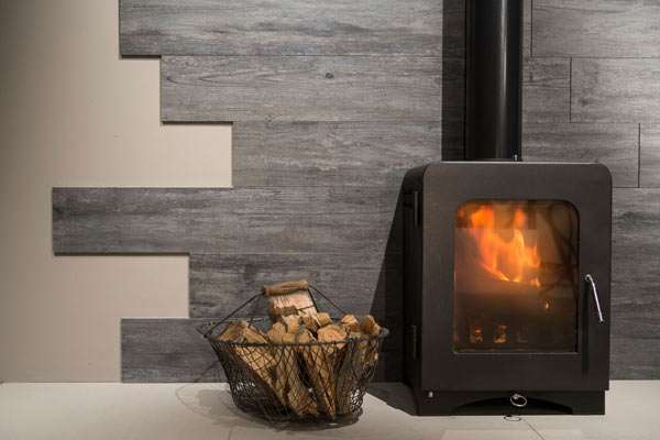 Timber wood effect fireplace tiles