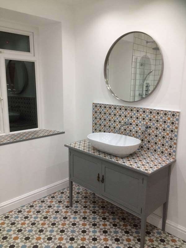 bathroom sink geometric tiles