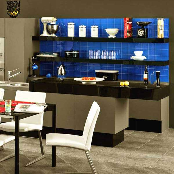 Fjord Blue Glass Plain Wall Tiles from Walls and Floors