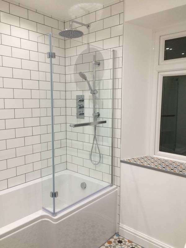 white metro tiles shower