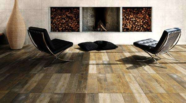 Antique wood effect tiles