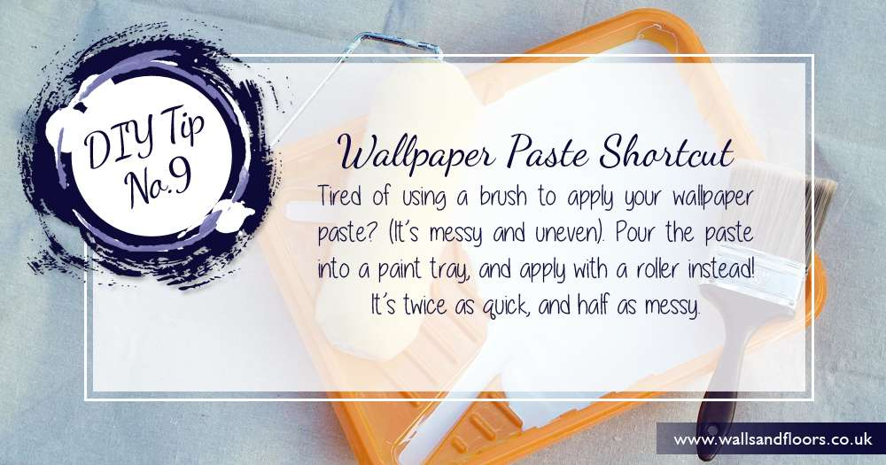 Apply wallpaper paste using a paint tray and roller