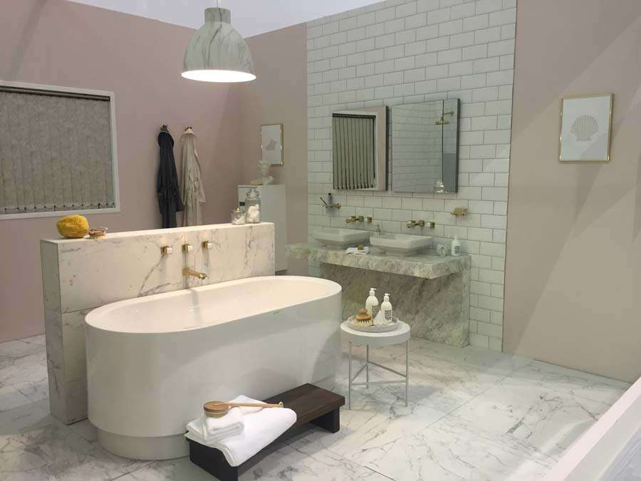Marble tiles in bathroom at Ideal Home Show