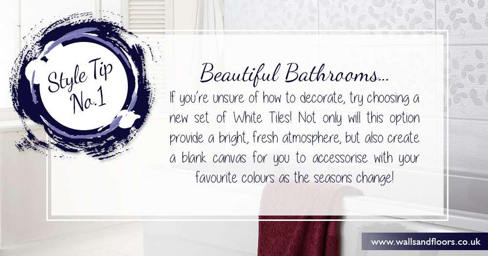 Decorate a bathroom with white tiles