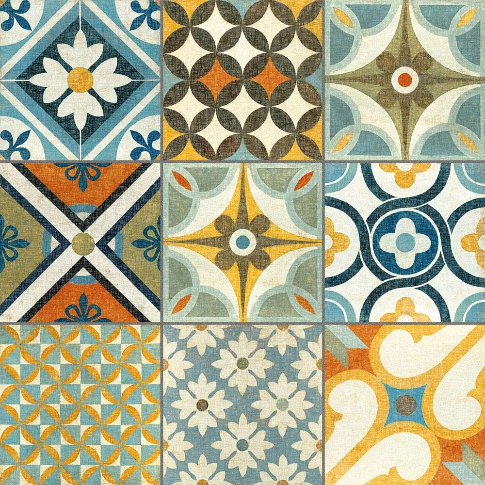 Create a summery kitchen with moroccan tiles walls and Moroccan ceramic floor tile