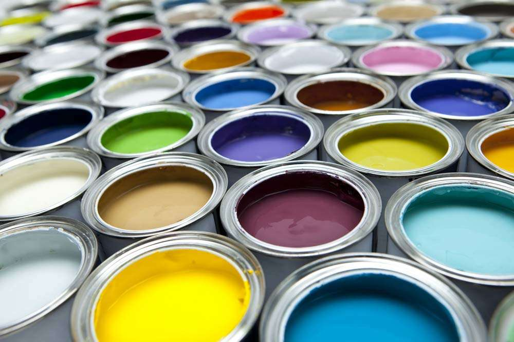 Colourful paint can selection