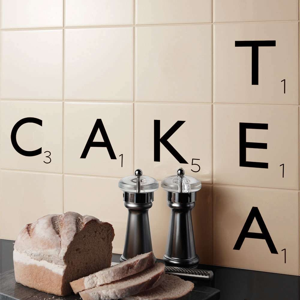 Scrabble tiles in kitchen