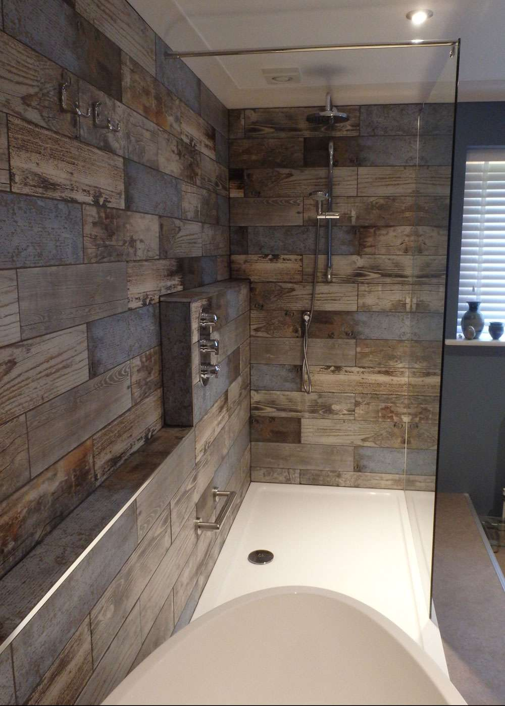 Reclaimed wood rachel 39 s bathroom transformation walls and floors walls and floors Bathroom ideas wooden floor