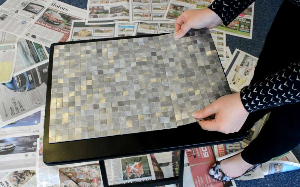 adding mosaic tiles to table