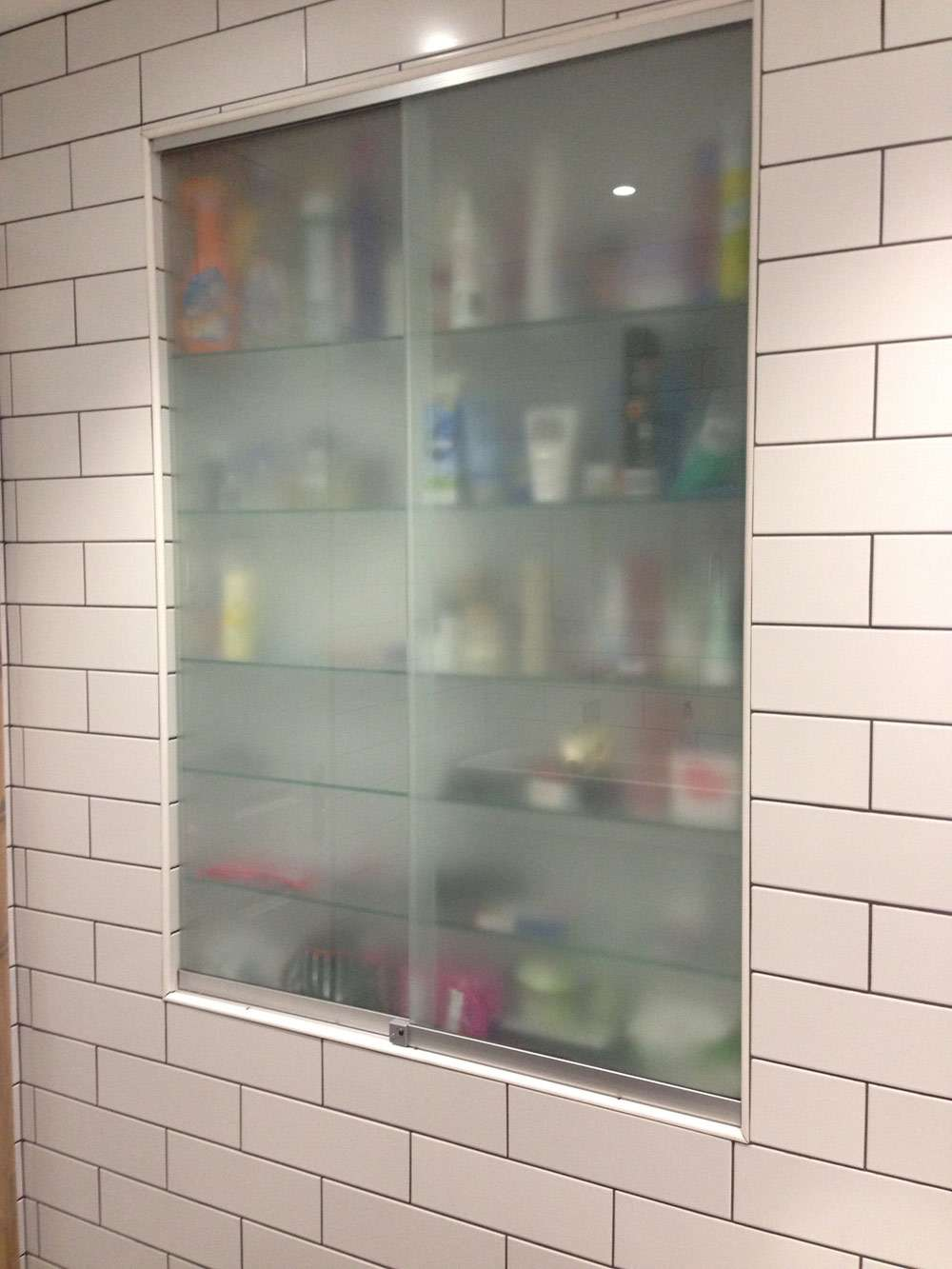 bathroom cabinet frosted glass