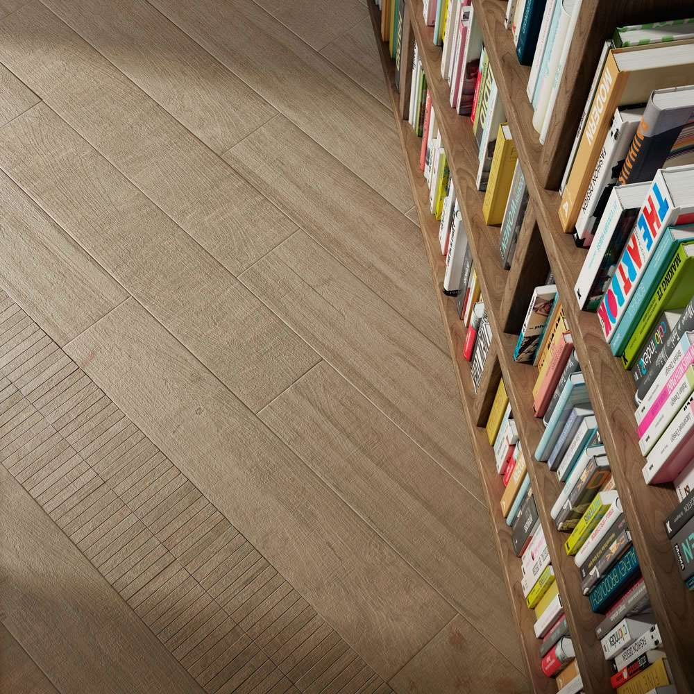 book case and wood tiles