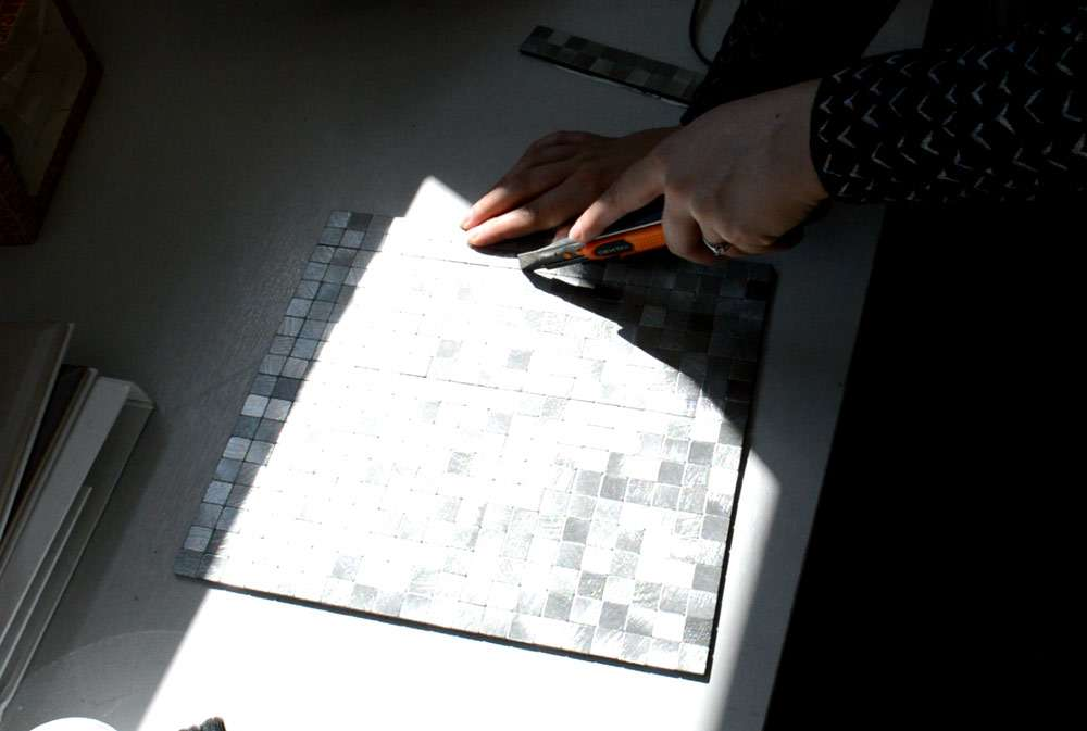 cutting mosaic tiles with craft knife
