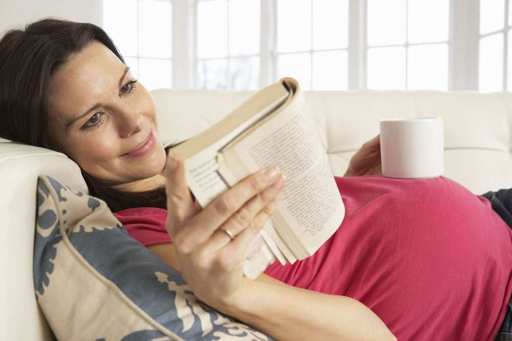 pregnant lady reading