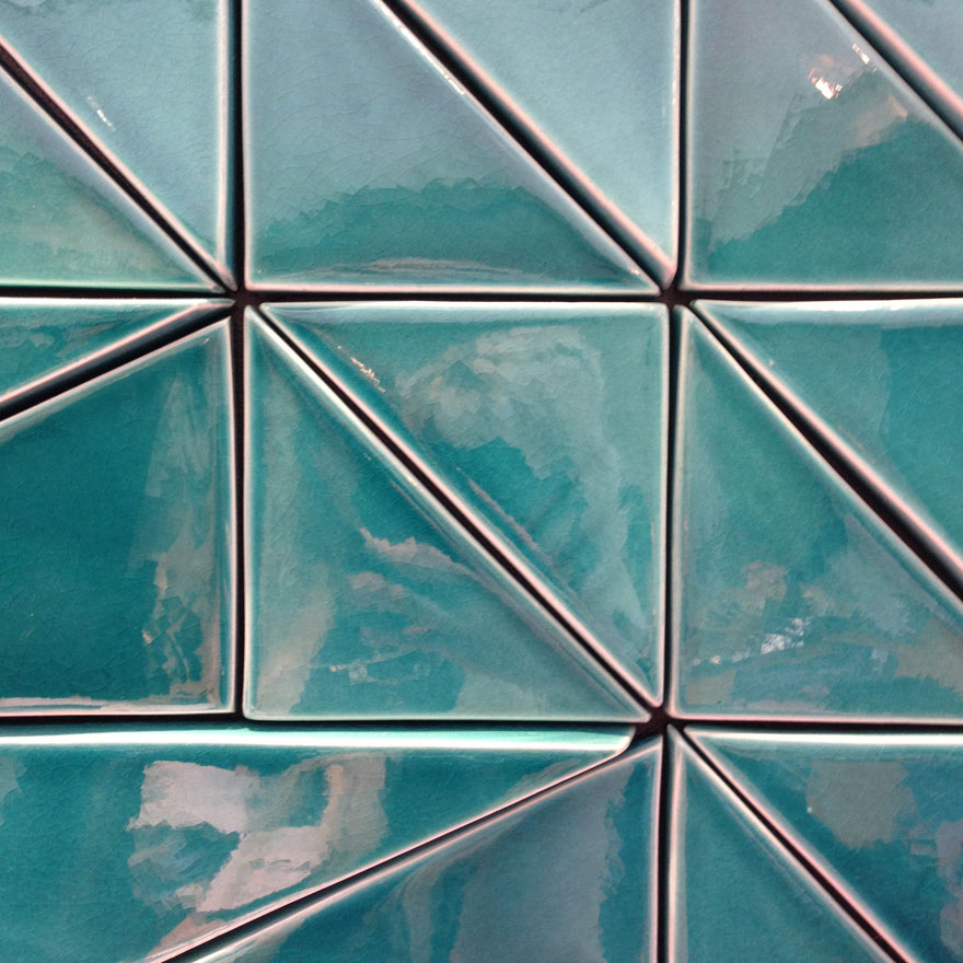 teal triangle tiles