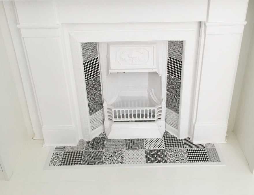 zia pattern tiles living room fireplace