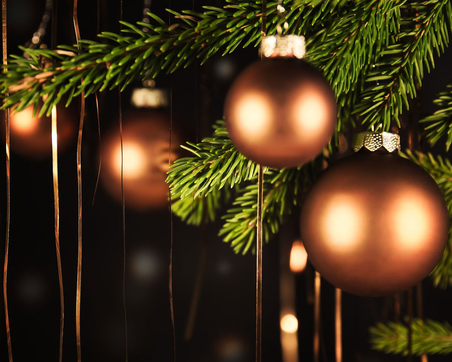 copper christmas tree decorations