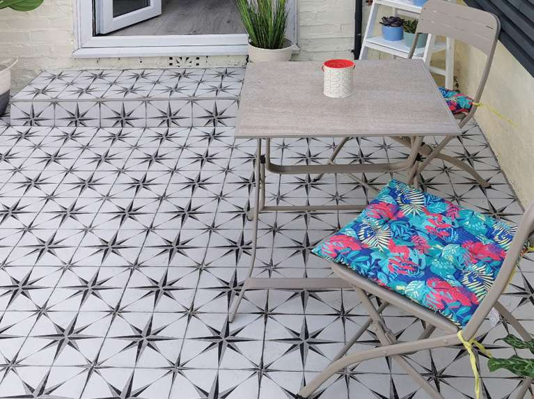 astral star patterned patio tiles