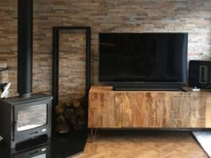 rustic living room feature wall