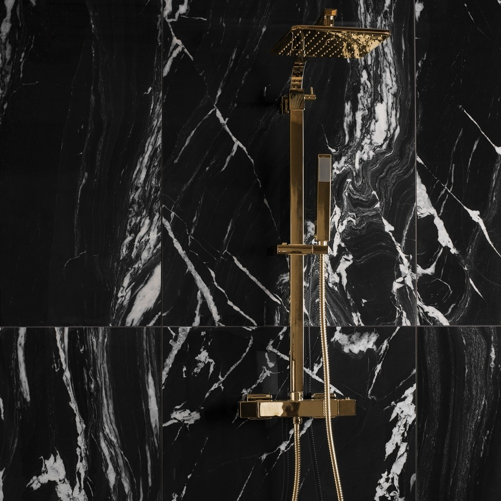 black marble with gold shower