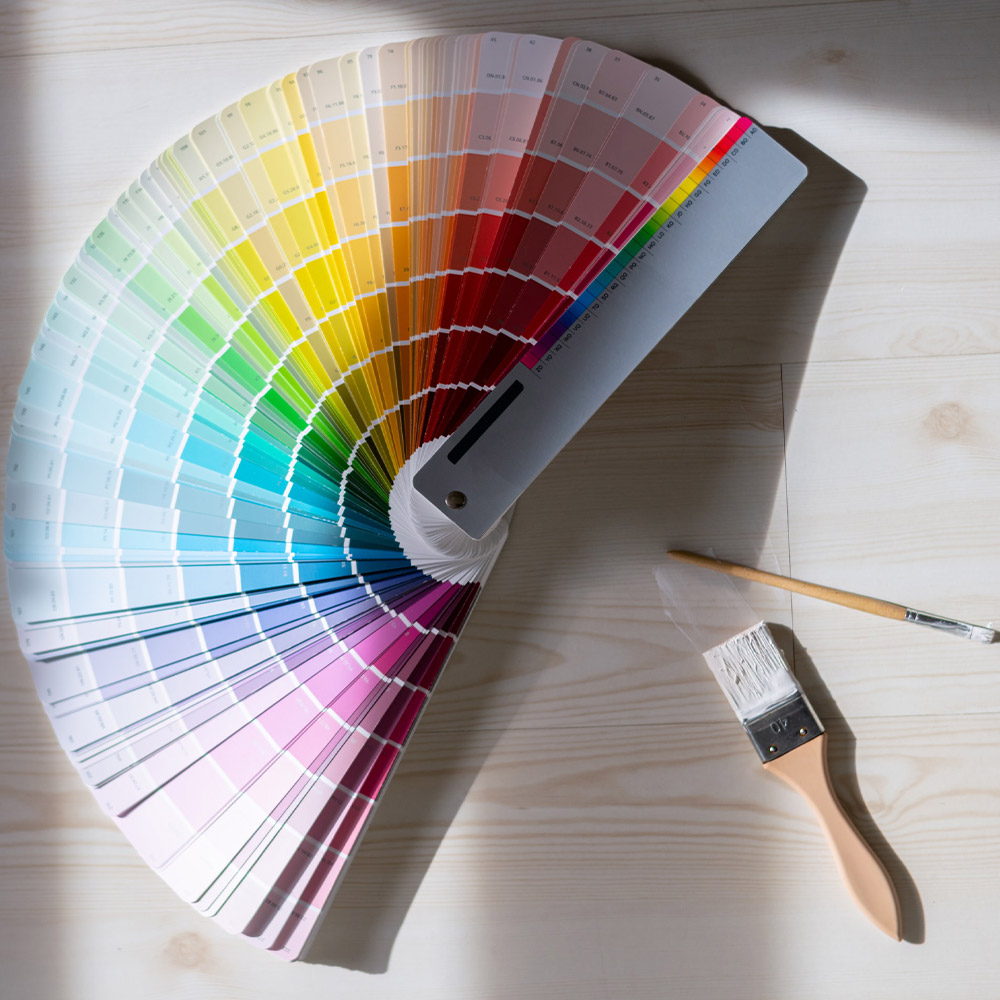 colour chart and paint brush