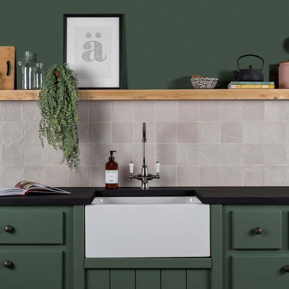 different textured gea tiles as a splashback in a green kitchen