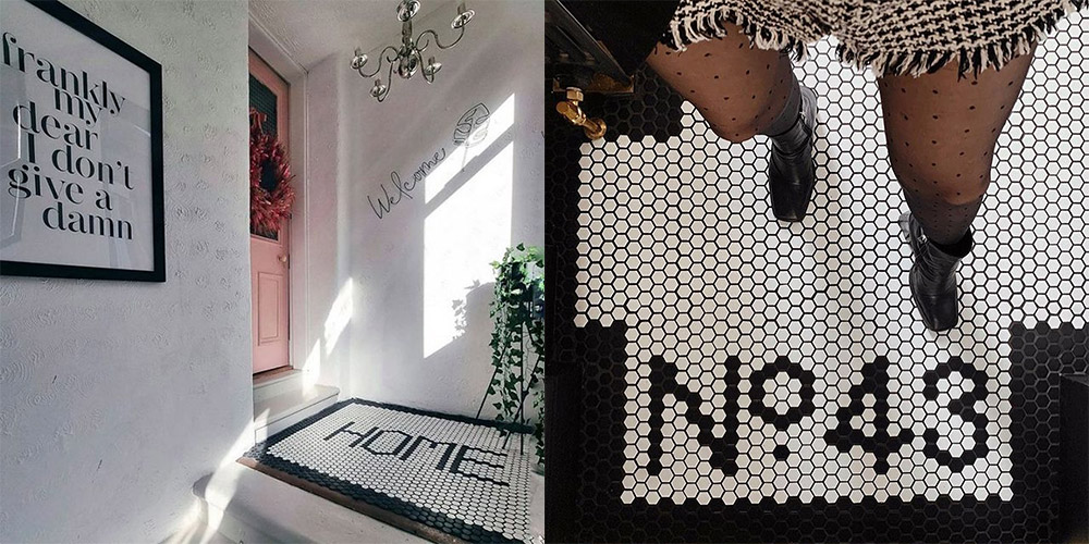 two ways of styling black and white pixel mosaics