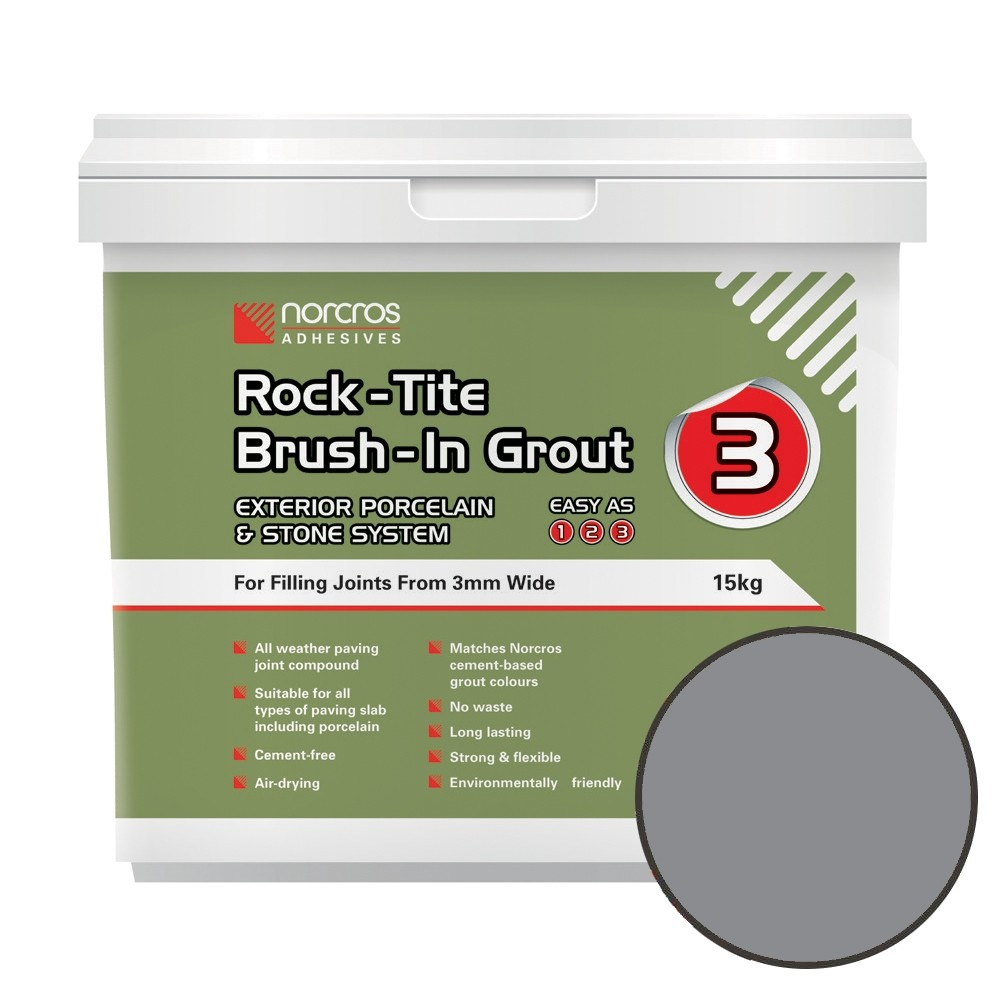 rock-tite brush-in grout in grey
