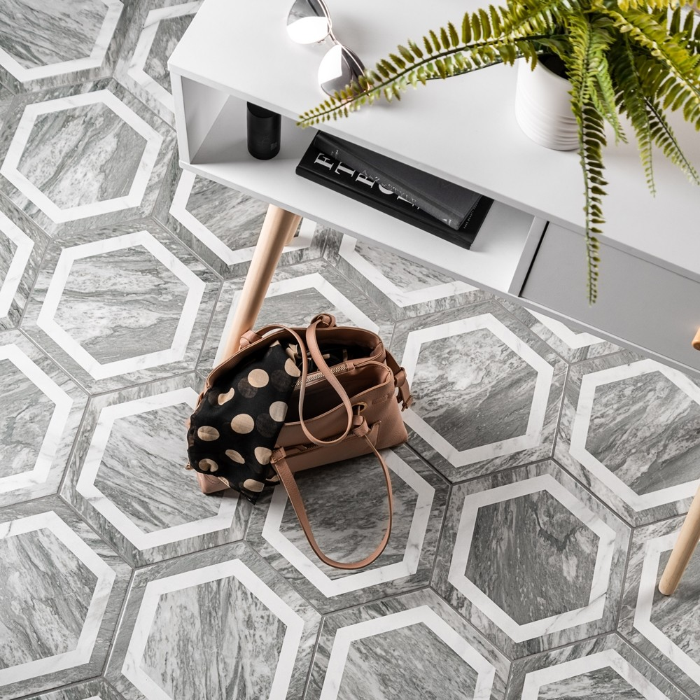 grey marble effect tiles with white border