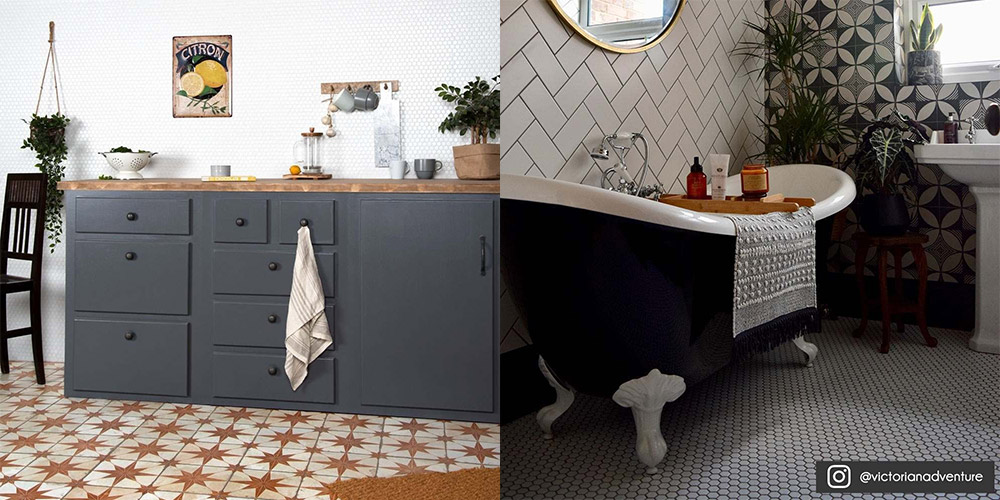 two rooms with mosaics on the wall using different grout colours