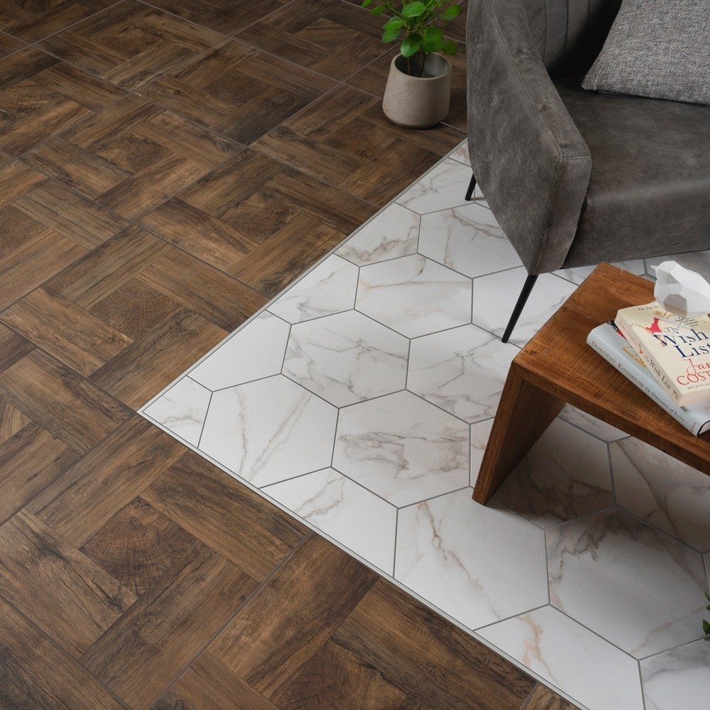 marble tiles mixed with wood effect flooring