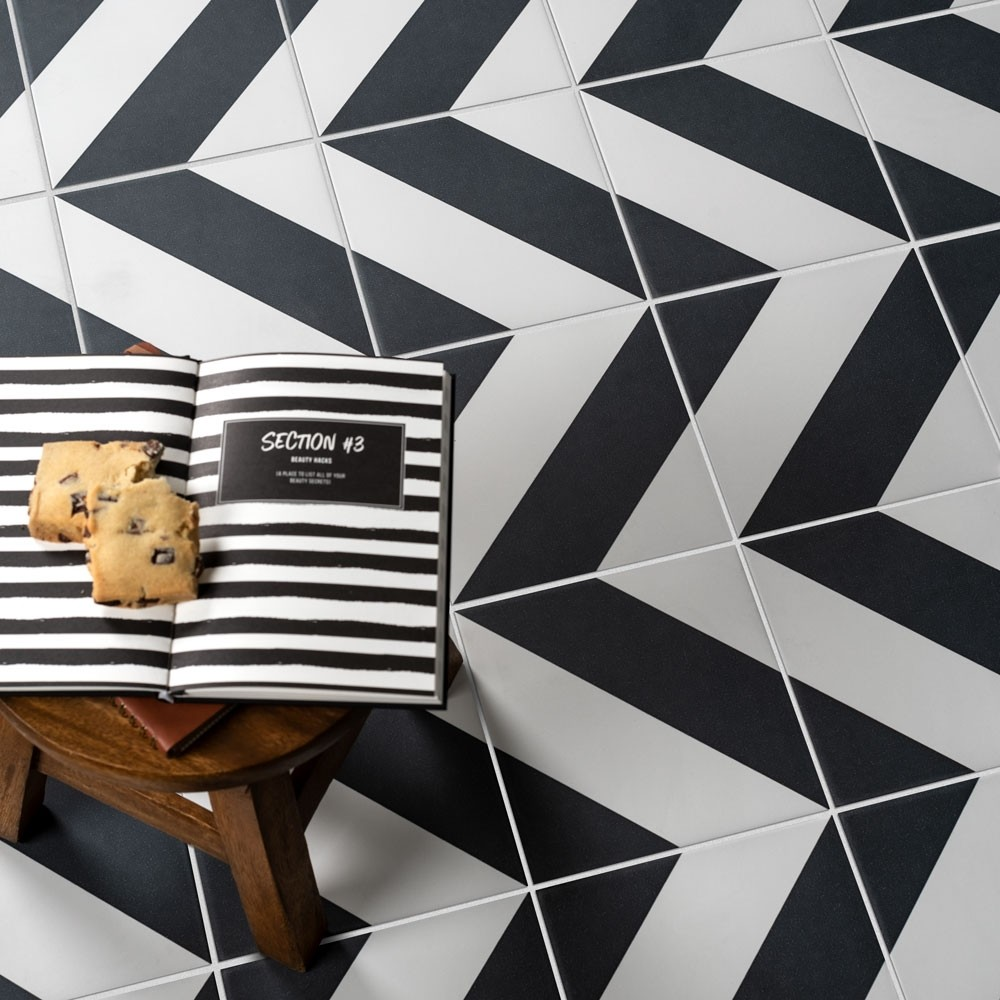zebra tiles with stool and shortbread
