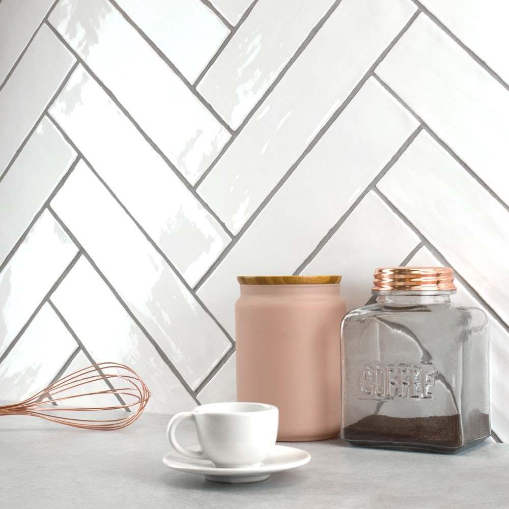 boutique white brick shaped tile with glossy finish