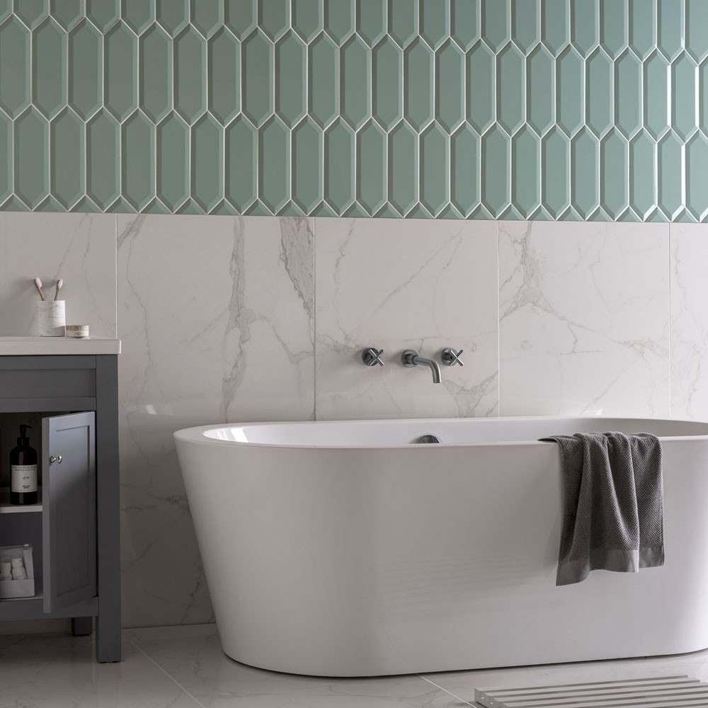 pickett heaxagon tiles with cappella marble effect white tiles