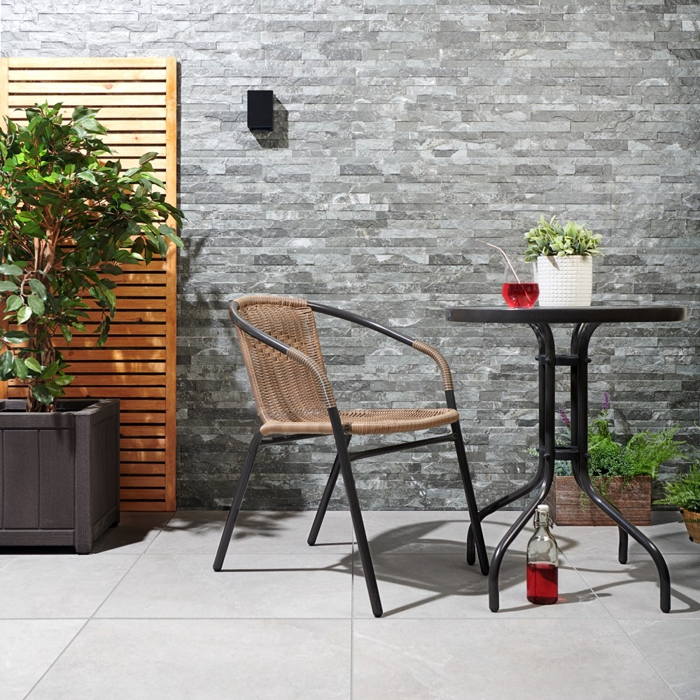 vesuvius slate effect split face grey charcoal tiles as a feature wall