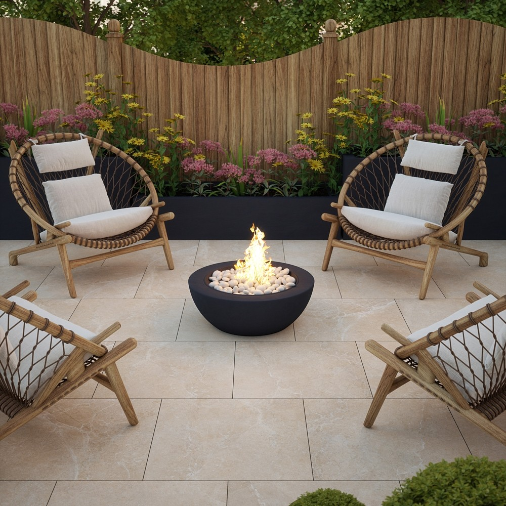 clifton bone porcelain paving slabs outdoors with firepit