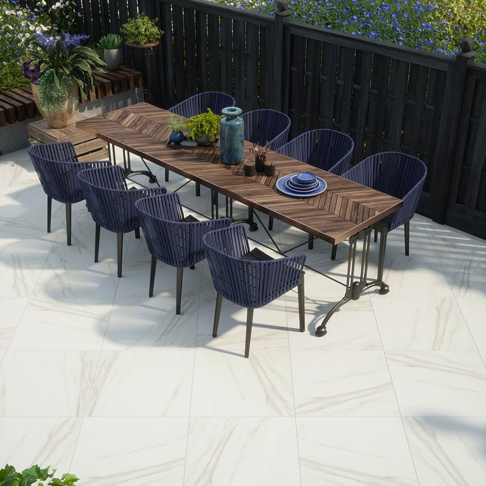 calacatta gold marble effect porcelain paving slabs