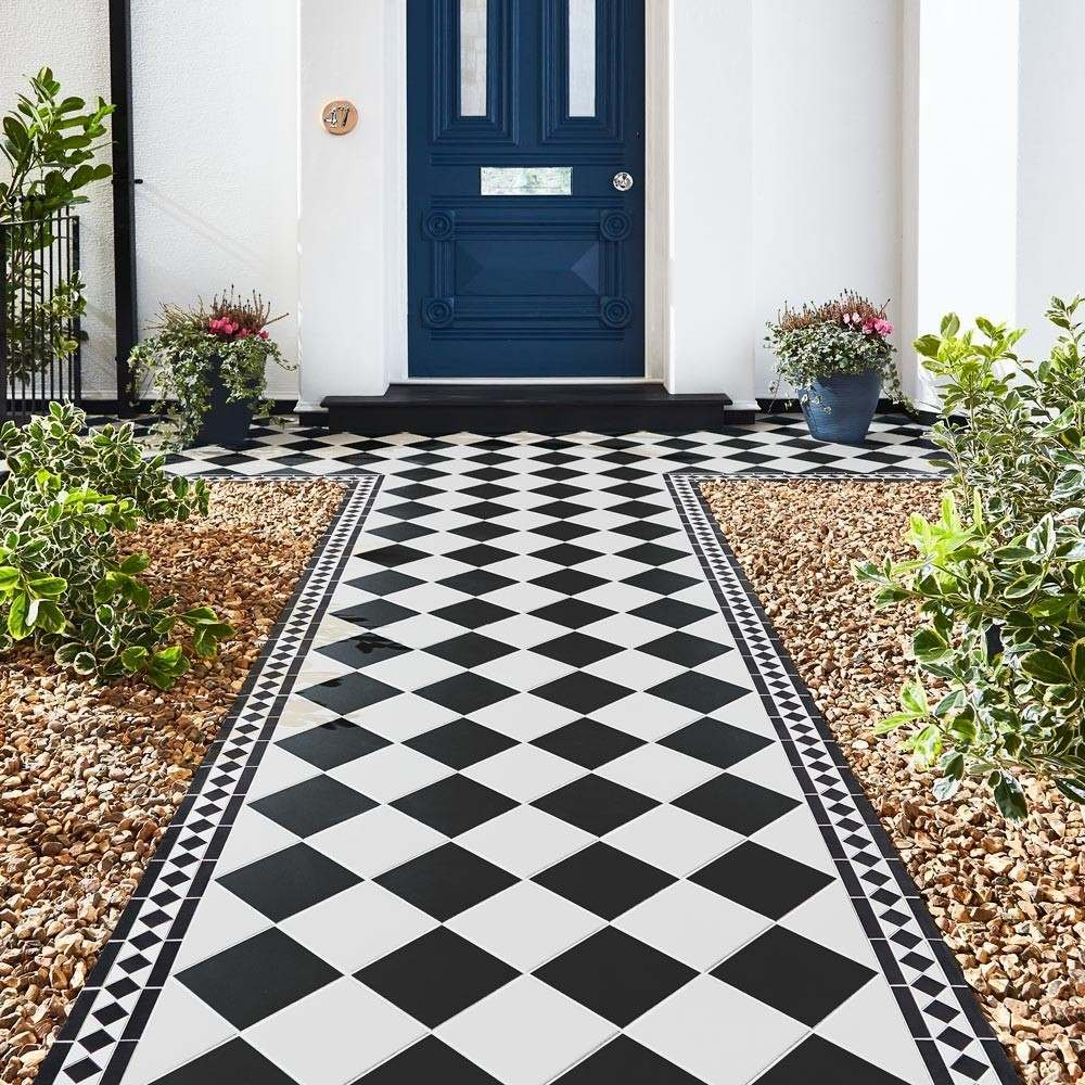 vintage style cava black and white checkerboard tiles