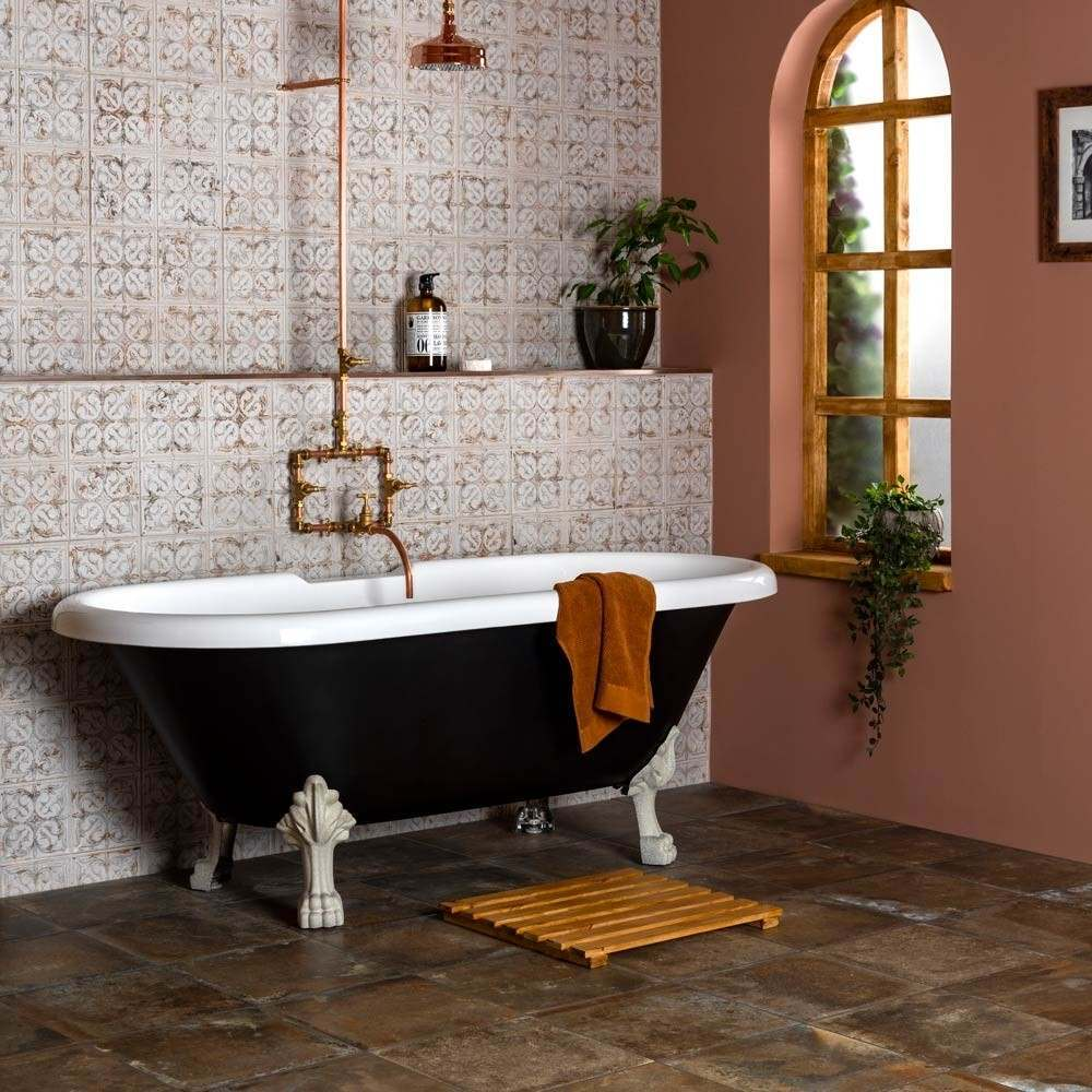 Harbour Russet Brown Aged effect tiles with anchor chalk tin style pale tiles